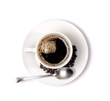 Fototapety isolated coffee cup and saucer and coffee beans. Top view