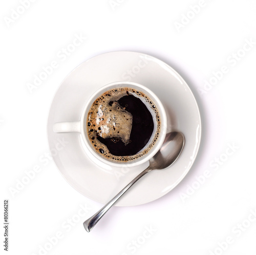 Aluminium Cafe isolated coffee cup and saucer. Top view