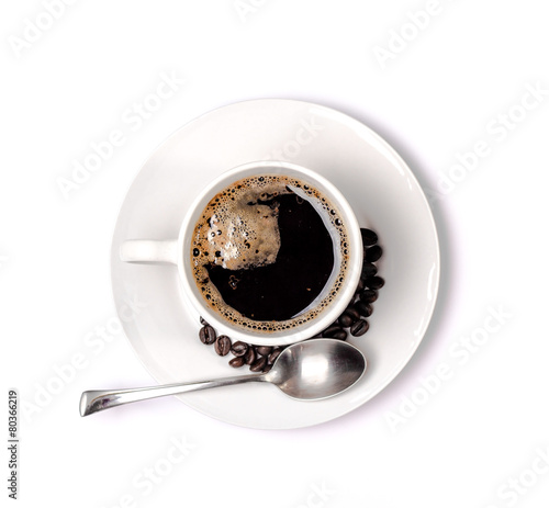 Staande foto Cafe isolated coffee cup and saucer and coffee beans. Top view