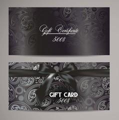 Elegant black gift certificates with floral design