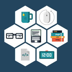 Flat icons vector collection of programming and coding objects.