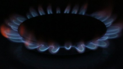 Flames of burning gas