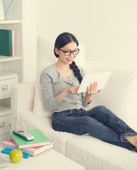 asian female girl on tablet