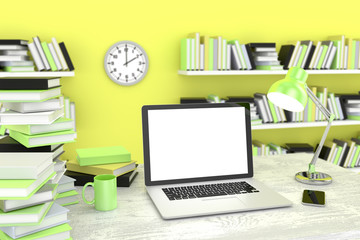 laptop and books, Workspace, 3d render