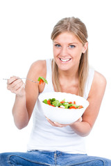 Girl eating salad, healthy eating concept, isolated on white