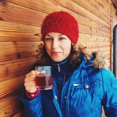 Happy women having tea at ski resort