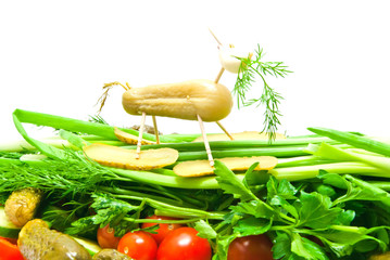 some vegetables with figure of sheep