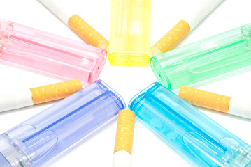 colorful lighters and few cigarettes