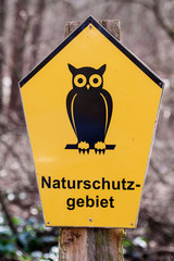 German sign for area of conservation, Naturschutzgebiet means na