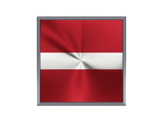 Square metal button with flag of latvia
