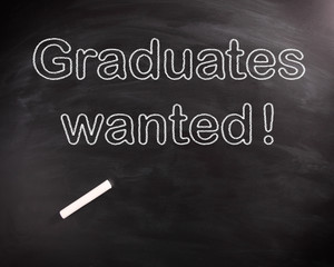 Conceptual Graduates Wanted Texts on Chalkboard
