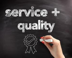 Service and Quality Text on Board with Ribbon