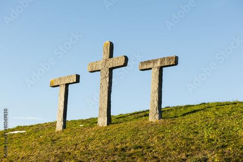 """Leinwanddruck Bild """"Pestkreuze"""" auf dem Allweg bei Stans, Schweiz"""
