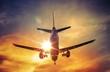 Leinwanddruck Bild - Airplane and the Sun