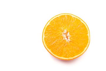 Slice orange isolated on white background.