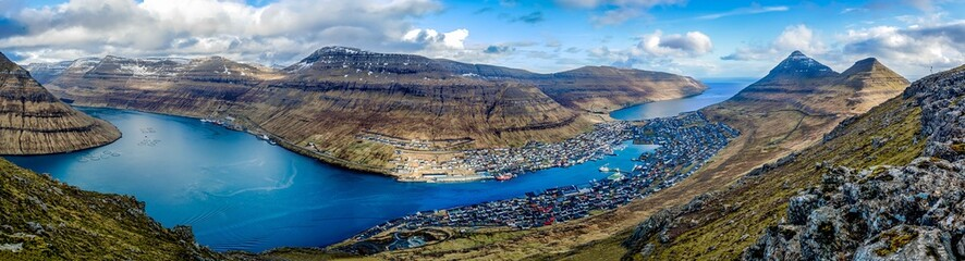 Panorama over the city Klaksvik, Faroe Islands