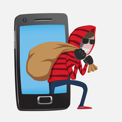 Hacker step out of smart phone screen criminal activity