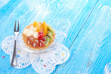 sweet cake with fruits on plate