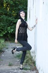 goth girl on abandon rail station