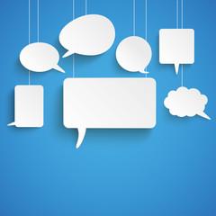 White Paper Speech Bubbles Blue