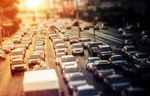 """Постер, картина, фотообои """"Highway Traffic at Sunset"""""""