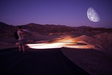 Hiking at Night with Flashlight