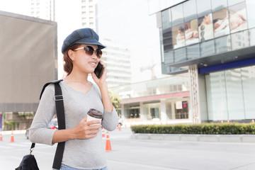 smile women talking cellphone urban lifestyle concept