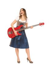 singende Frau im Dirndl mit Bass
