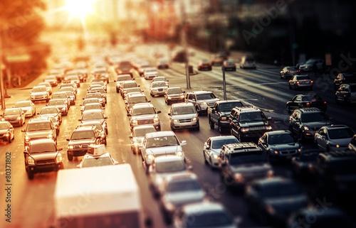 Highway Traffic at Sunset poster