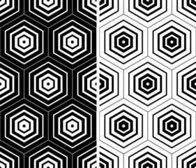 Seamless hexagons textures.