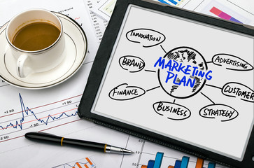 marketing plan concept hand drawing on tablet pc
