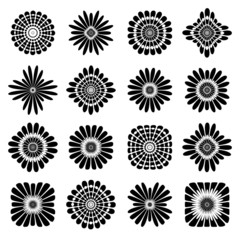 Abstract floral icons. Design elements set.