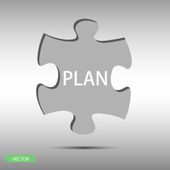 piece of puzzle with text plan on gray background