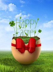 Cute Easter egg over sky background with a message