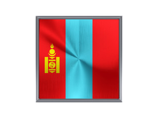 Square metal button with flag of mongolia
