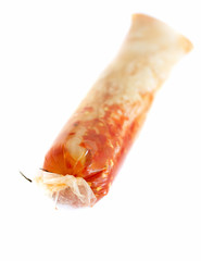 Kimchi (Korean food) on white background, in a package