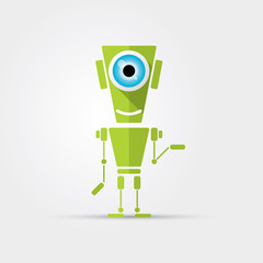 Cartoon Character Cute green Robot