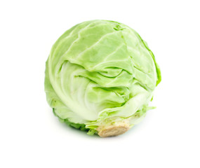 fresh head of green cabbage on a white background, a new crop