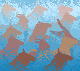 Wildebeest swimming river