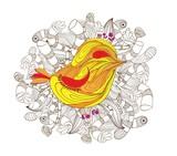 bird doodle art poster