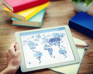 Businessman Digital Tablet Global Business Teamwork Concept