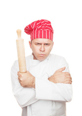 Angry chef with rolling pin