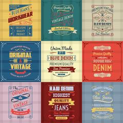 Denim typography background color set