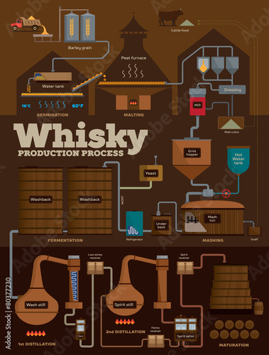 Whisky distillery production process infographics - 80377230