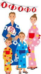 祭り 四人家族