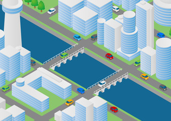 Illustration of buildings, bridges and vehicles