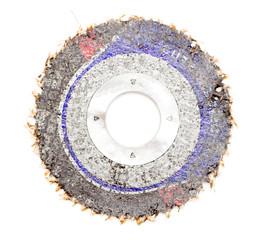 Old abrasive disk for metal grinding