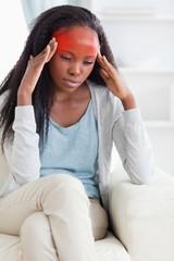Close up of woman having a headache