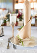 Beautiful elegant table set for wedding party