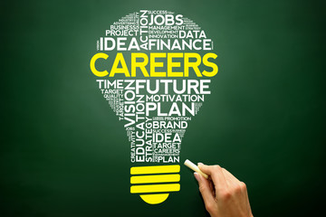 CAREERS bulb word cloud, business concept on blackboard